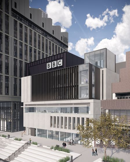 A computer generated image of the BBC's East Bank outpost. Picture: LLDC, Allies & Morrison, Ninety9