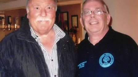 Jimmy Greaves visited Barkingside Football Club 10 years ago, pictured with Martin Meyers.