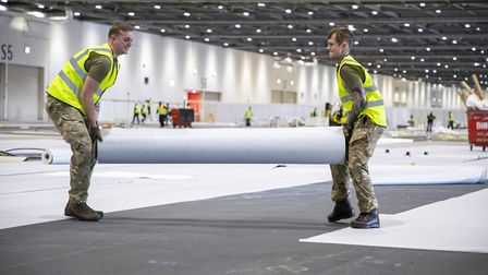 Soldiers from 1 Royal Anglian Regiment working in the ExCeL. Picture Dave Jenkins/MoD/PA Wire