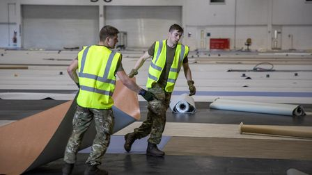 Soldiers from 1 Royal Anglian Regiment working in the ExCeL. Picture: Dave Jenkins/MoD/PA Wire