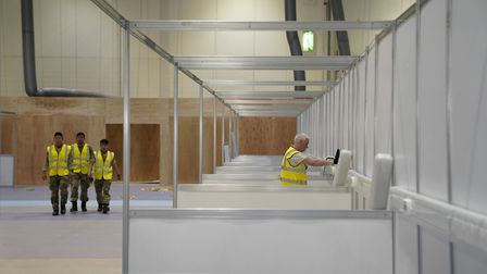 Work being carried out the ExCeL to turn it into a temporary hospital. Picture: Andrew Parsons/10 Do