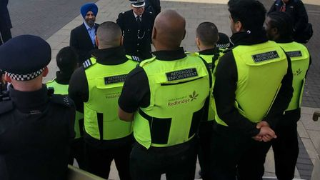 Council enforcement officers being briefed by council leader Jas Athwal. Picture: @Jas_Athwal