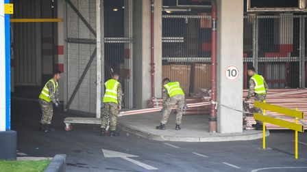 Military personnel move supplies at the ExCeL. Picture: Stefan Rousseau/PA Wire