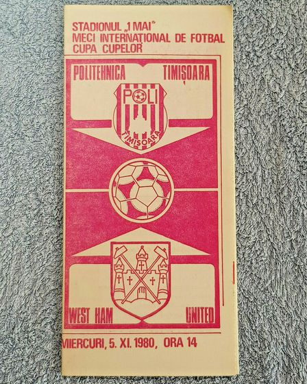 Programme from West Ham's trip to Timisoara in Romania in 1980