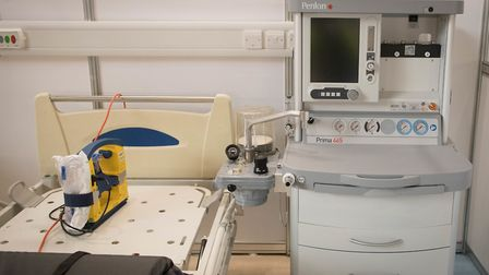 A hospital bed and respirator at the ExCeL. Picture: Stefan Rousseau/PA Wire