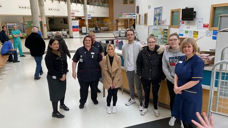 Georgia and Lewis pose with the hardworking NHS teams. Picture: Lewis and Georgia Holmes