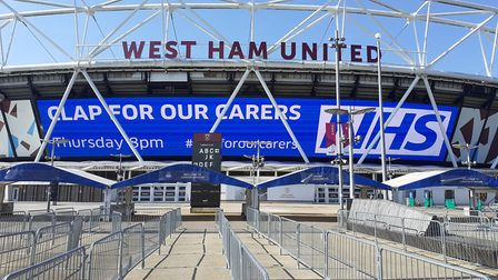 A banner at the London Stadium supporting the initiative. Picture: LLDC