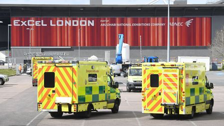 Ambulances outside the ExCeL. Picture: Kirsty O'Connor/PA Wire
