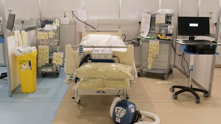 Medical equipment is labelled and prepared for use by NHS staff at the ExCeL. Picture: Stefan Rousse