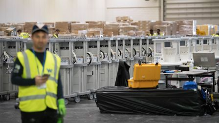 Ventilators are stored and ready to be used by coronavirus patients at the ExCeL. Picture: Stefan Ro