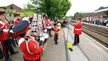 Southwold and Reydon Corps Band arriving by Abellio Greater Anglia train at Halesworth Train Station