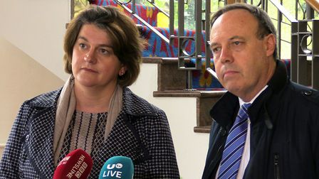 DUP leader Arlene Foster and DUP deputy leader Nigel Dodds. Photograph: Michael McHugh/PA Wire
