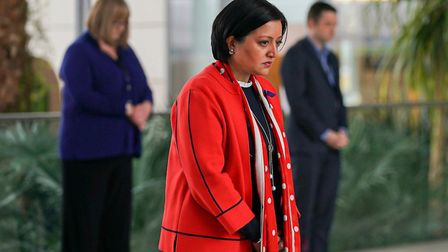 Newham Mayor Rokhsana Fiaz during the minute's silence for NHS staff and key workers. Picture: Andre
