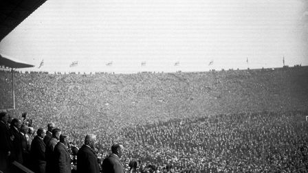 The scene at Wembley Stadium for the 1923 FA Cup Final between Bolton Waderers and West Ham United w