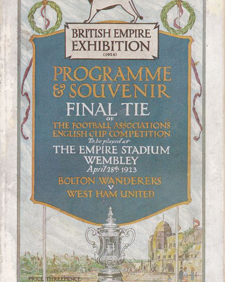 The cover of the match programme for the 1923 FA Cup final between Bolton Wanderers and West Ham Uni