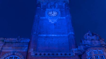 East Ham Town Hall was first lit up in blue to coincide with the weekly clap for our carers. Picture