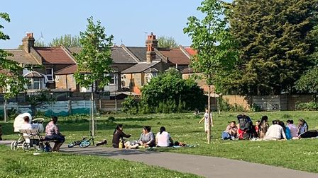 Groups picnic along a path in Plashet Park. Picture: Submitted