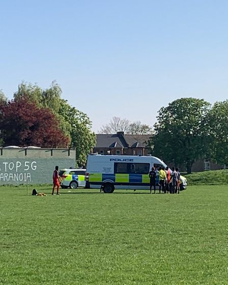 Police on Wanstead Flats on April 15 where groups of people have been observed playing football in a