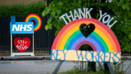 Signs thanking key workers and the NHS are seen in London as the UK continues in lockdown to help cu