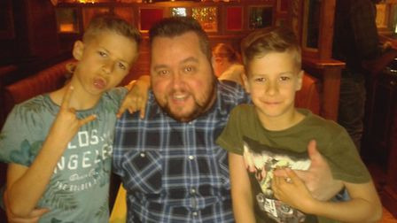 Stuart Everett with his children Charlie and Oliver. Picture: Supplied
