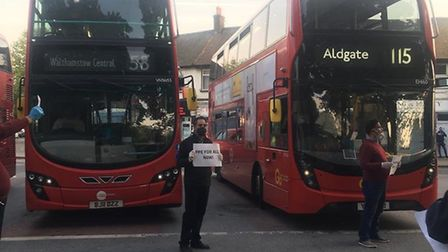 Supporters applauded bus drivers and called for PPE in East Ham as part of an evening saluting key w