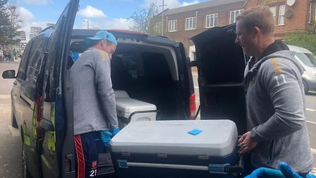 Essex T20 captain Tom Westley delivering hot food. Picture: Lint Group