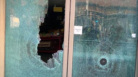 Damage to the shop front of International Supermarket in High St, Hornchurch, after the incident on