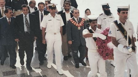 Mr Sheikh an official trip to Pakistan visiting a memorial along with his late wife Salma Sheikh and