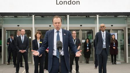 Health Secretary Matt Hancock at the opening of the NHS Nightingale Hospital at the ExCel centre in