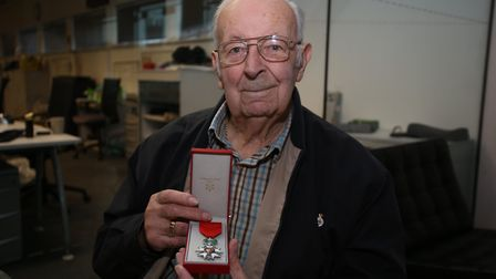 Len Brace with his chevalier de la Legion d'honneur. Picture: Ellie Hoskins.