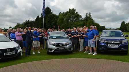 Supporting good causes: Lings Honda put up a Jazz supermini as the prize for a hole in one at a char