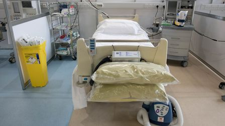 A hospital bed and respirator at the ExCeL, now NHS Nightingale Hospital. Picture: Stefan Rousseau/P