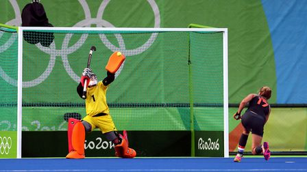 Great Britain's goalkeeper Maddie Hinch saves a penalty from Netherland's Maartje Paumen during the
