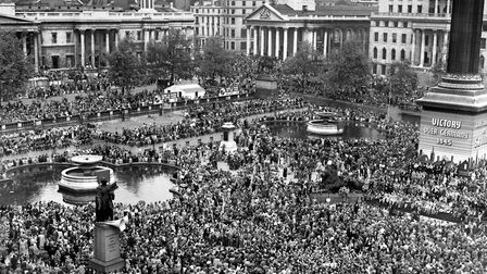 Huge crowds at Trafalgar Square celebrate VE (Victory in Europe) Day in London, marking the end of t