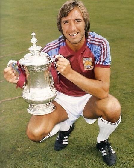 Billy Bonds holds the FA Cup at the start of the 1981-82 season