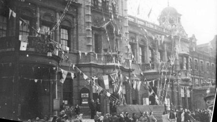 An historic day celebrated outside Ilford Town Hall on May 8, 1945 when victory was declared in Euro