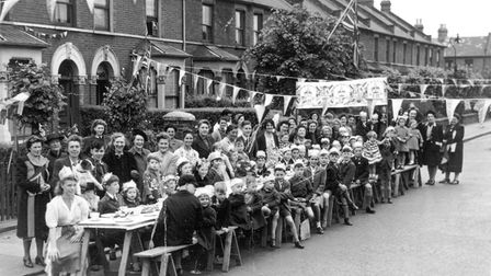 VE Day celebrations in Woodlands Road, Ilford. Picture: Redbridge Museum & Heritage Centre
