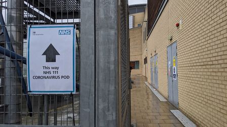 The coronavirus pod at where patients are received at Queen's Hospital, Romford. Picture: Adriana El