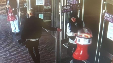 Romford's Mercury Mall is appealing after two thieves steal the coin spinner which was collecting mo