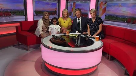 Lisa and Pippa with Fatima, who benefitted from Tom's organs on BBC Breakfast. Picture: BBC