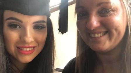 Jordan and her mum Amanda who is following in her daughter's footsteps and training to become a nurs