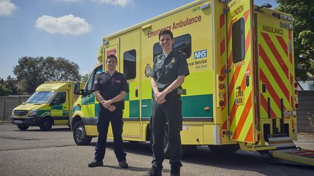 Paramedic Jack Binder and his leading firefighter brother Tom. Picture: CJ Clarke/LAS