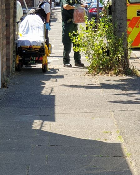 Police and ambulance attended the scene on Baden Road around 1:40pm. Picture: @IlfordSouth
