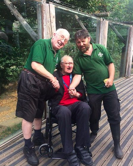 George Fitt with zoo keepers Matt Hennessy and Paul Kybett. Picture: London Zoo