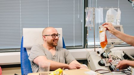 Donor Adam Drew having plasma taken at a centre in Tooting. Picture: Kirsty Hamilton Photography