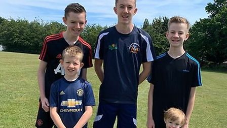 Brothers George, Keane, Ryan, Charlton and Robson Handley will be running a combined marathon in sup