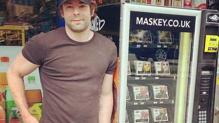 Maskey founder Adam Freeman set up the UK's first mask vending machine in Chigwell. Picture: Adam Fr