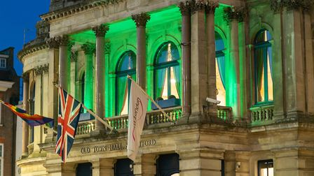 The Old Town Hall Stratford was lit up in green to mark the third annversary of the Grenfell Tower f