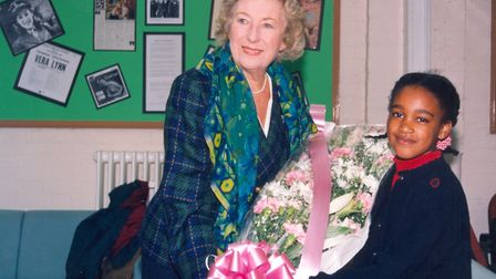 Dame Vera Lynn visiting pupils from Brampton Primary School in October 1996.