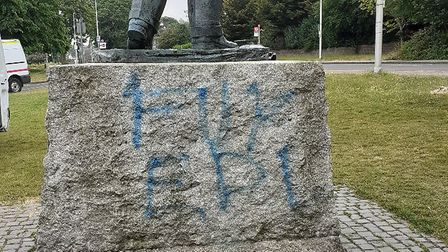 The Winston Churchill statue in Woodford Green was vandalised late Tuesday night. Picture: Redbridge